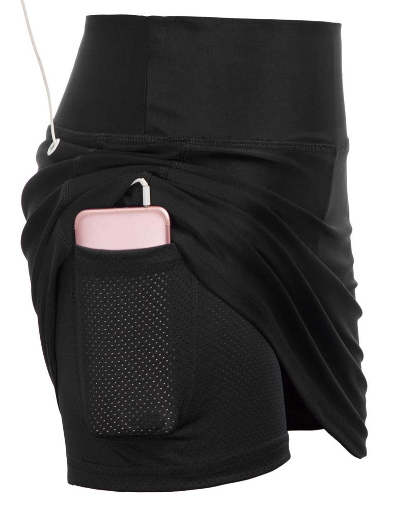 JACK SMITH Women's Casual Pleated Tennis Golf Skirt with Underneath Shorts Running Skorts (2XL,Black) by JACK SMITH