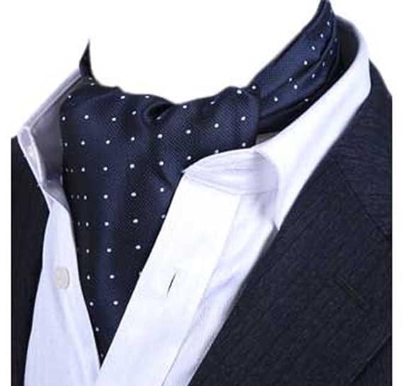 34c884c3ffd2 Amazon.com: L04BABY Men's Navy Blue Polka Dot Silk Ties Suit Ascot Jacquard  Woven Cravat: Clothing