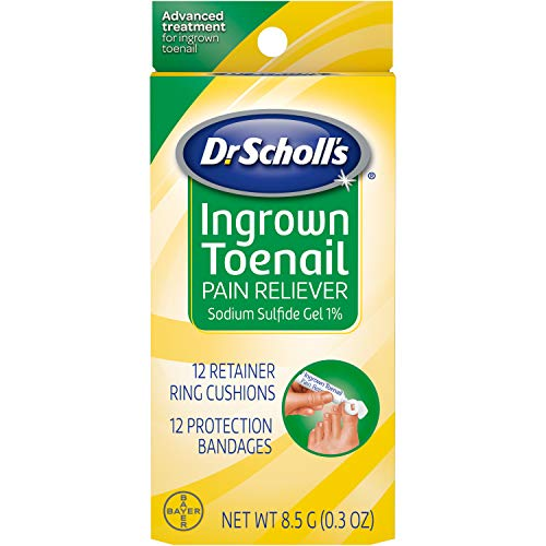 Dr. Scholl's Ingrown Toenail Pain Reliever, 0.3oz // Medicated Gel Softens Nails for Easy Trimming and Foam Ring and Bandage Protect the Affected Area (Best Ingrown Nail Treatment)