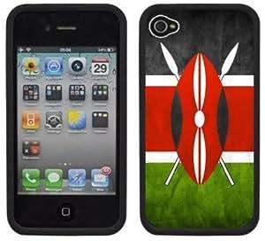 Kenya Flag Handmade iPhone 4 4S Black Hard Plastic Case