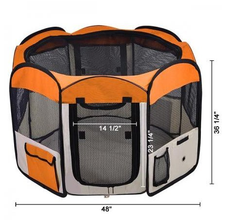 Orange 48'' Octagon Portable Playpen Pet Dog Crate