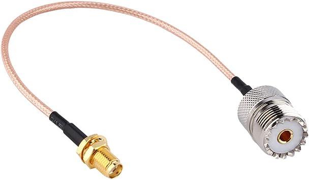 TengKo Handheld Antenna Adapter Cable SMA Femenino a UHF SO-239 Conectores Femeninos 15cm para Wouxun Baofeng Quasheng Linton Conecta Base UHF y ...