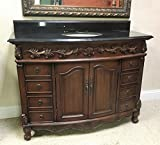 Traditional Bathroom Vanities Bathroom Vanity and Sink Combo 48 Inch Traditional Cabinet Black Granite Top