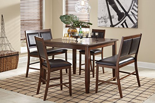 Dining Room Height Bar (Ashley Furniture Signature Design - Meredy Counter Height Dining Room Table and Bar Stools (Set of 5) - Brown)