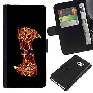 BearCase / Cuero de la tarjeta la carpeta del tirón Smartphone Slots Protección Holder /// Samsung Galaxy S6 EDGE /// Flaming Resumen