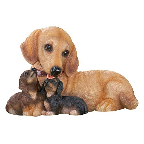 Statue Dog Puppy (Collections Etc Dachshund Dog Family Mama & Puppies Outdoor Garden Statue)