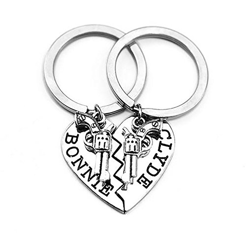 Meiligo Womens Mens Alloy Hip-hop Bonnie Clyde Letter Machine Gun Necklace Key Chain Hand Gun Revolver Pistol Pendant Matching Heart Jewelry (Key Chain - Silver(2pcs))