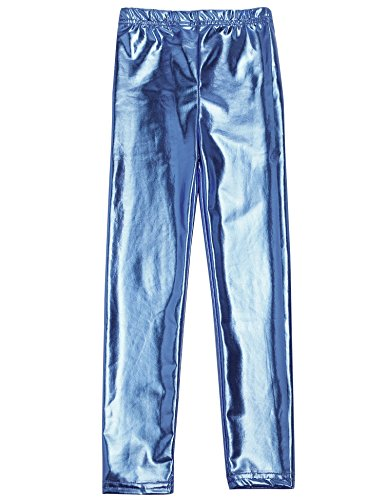 Arshiner Little Girls' Metallic Color Shiny Stretch Leggings Blue 120 (Shiny Blue)