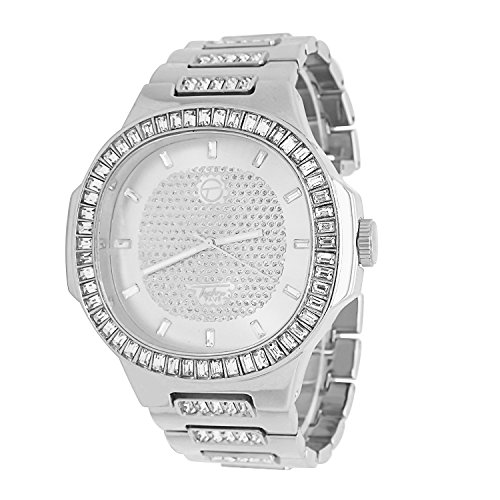 Techno Pave Fully Iced Out Bling 14k White Gold Plated 1 Row Baguette Stone Bezel Rectangle Dial Metal Band Watch