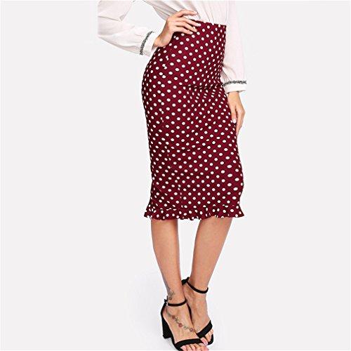 Taille Femmes Dames Bodycon Multicolore Jupe Jupe Printemps mi Travail Dot Jupe Polka Bureau Ruffle lgante Hem wYqzPPX