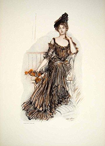 1908 Color Print Albert Sterner American Beauties Roses Edwardian Lady TFP1 - Original Color Print