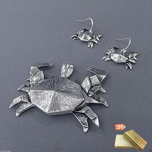 Silver Finish Origami Crab Design Pendant With Earrings For Women Set + Gold Cotton Filled Gift Box ()