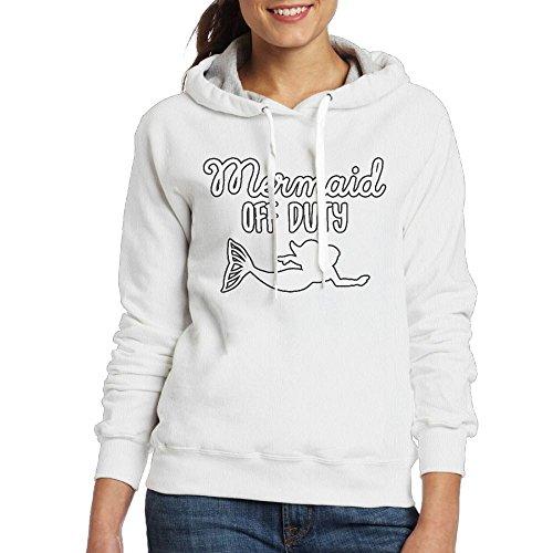 White Mermaid Hoodie Duty Kangaroo Sweatshirt Trendy Women Off Pullover Pocket TxaH4xwqz