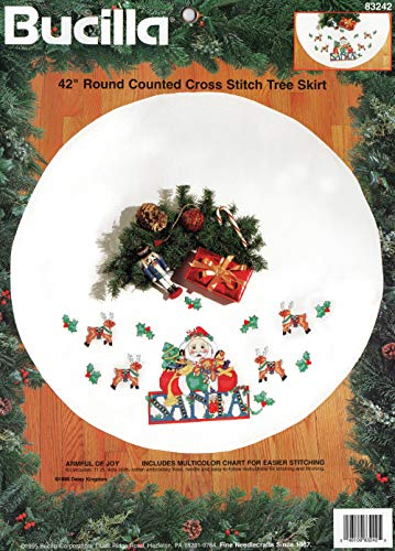 (Bucilla Counted Cross Stitch Kit Christmas Tree Skirt Armful of Joy)