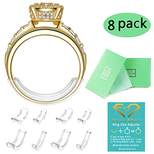 Invisible Ring Size Adjuster for Loose Rings Ring Adjuster Fit Narrow Rings with Jewelry Polishing Cloth