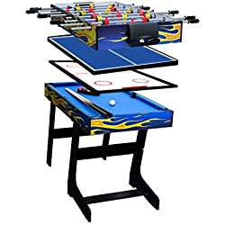 IFOYO 48 in / 4 ft Multi-Function 4 in 1 Steady Combo Game Table, Hockey Table, Soccer Foosball Table, Pool Table, Table Tennis Table, Yellow Flame