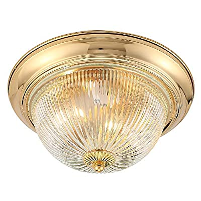 Flush Mount Ceiling Light, Industrial Antique Clear Glass Semicircle Shade, Golden Finish Ceiling Light for Living Room Dining Room Bedroom and Balcony