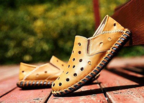 Beauqueen Hombres Crocs ligero de conducción casual cueros hilo de coser hueco transpirable superior suave suelas zapatos ocasionales UE tamaño 38-44 Yellow