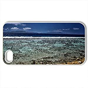 Bora Bora Coral Reef - Case Cover for iPhone 4 and 4s (Beaches Series, Watercolor style, White)