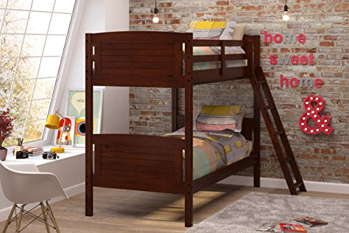 Woodcrest Pine Bed (Woodcrest 8010 KD Scored Bunk Bed, Twin, Chocolate)