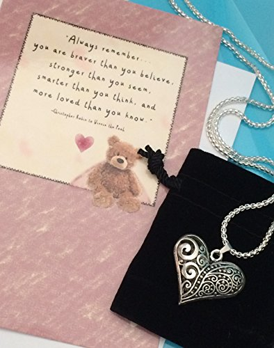 Smiling Wisdom - Hollow Heart Swirl Necklace Gift Set - Encouraging Friendship Gifts - Her Daughter Friend Woman - Long Chain 28 inch - Braver Than You Believe, Stronger Than You Seem. Quote