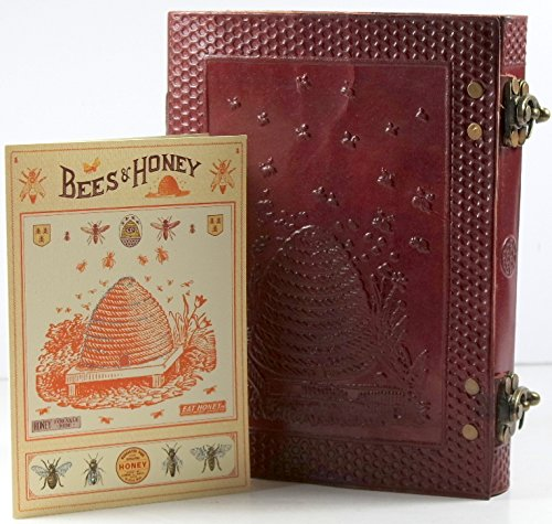 Barner Books Handmade Leather Honey bee 8 x 6 2 Latch Journal with Blank Gift Card