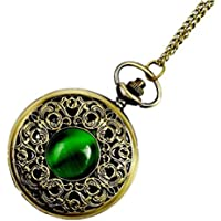 WZC Antique Emerald Quartz Pocket Watch for Women with Chain