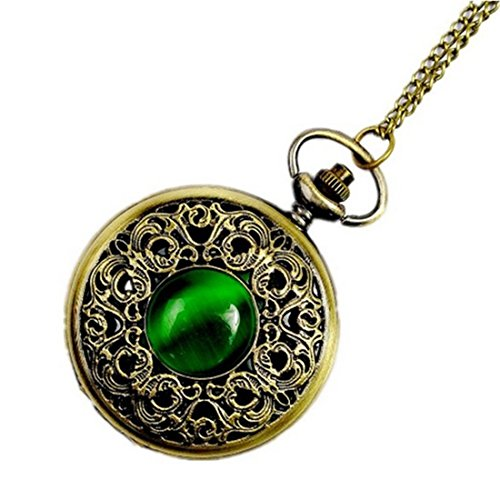 WZC Antique Emerald Quartz Pocket Watch for Women with Chain (Ladies Antique Watch)