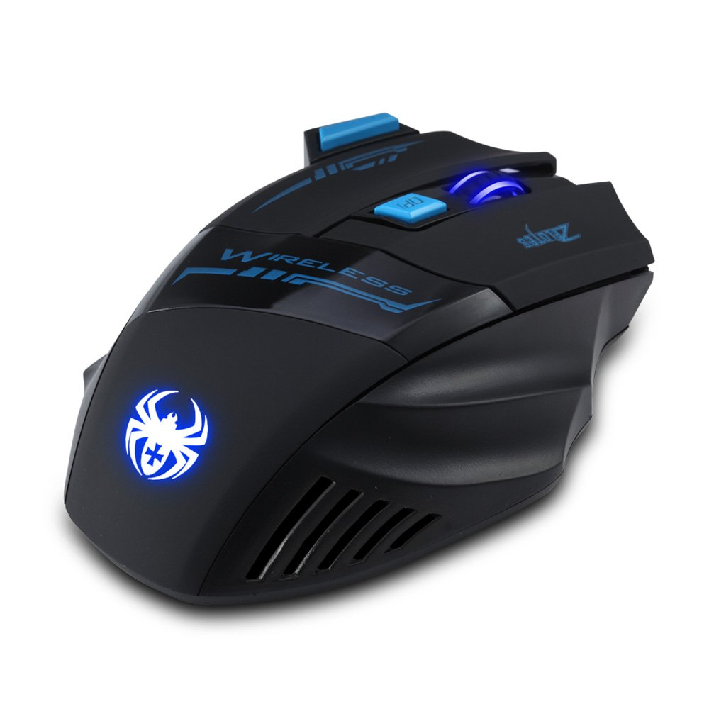 [New Version] Zelotes F14 Professional Blue LED 2400 DPI 9 Buttons USB 2.4G Optical Wireless Gaming Mouse Mice for gamer(Black) by Zelotes (Image #4)