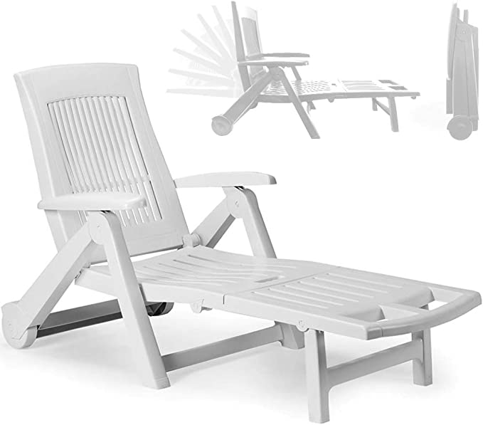 Multistore 2002 - Tumbona plegable con ruedas para tomar el sol y relajarse en el jardín, asiento con respaldo de 5 posiciones, mueble de balcón y terraza, plástico, color blanco: Amazon.es: Hogar