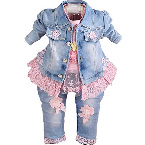 YYA Baby Girls Denim Clothing Sets 3 Pieces Set (2-3Years, Pink)