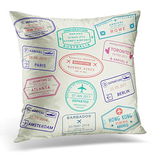 Adlington Throw Pillow Cover Atlanta Colorful Country Custom and Travel Passport Stamp International Airport Visa Rome Trip Decorative Pillow Case Home Decor Square 18x18 Inches Pillowcase