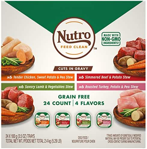 NUTRO Adult High Protein Natural Grain Free Wet Dog Food Cuts in Gravy Beef, Lamb, Chicken, and Turkey Variety Pack, (24) 3.5 oz. Trays
