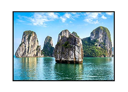 Halong Bay, North Vietnam - Photography A-94698 (24x16 Framed Gallery Wrapped Stretched Canvas)