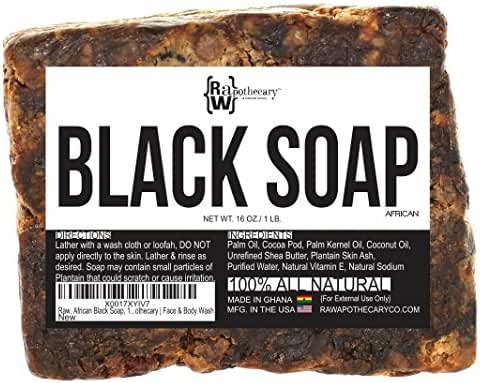 Raw African Black Soap, 100% All Natural by Raw Apothecary-  Fair Trade Certified, Cruelty Free, Organic and Unrefined (1 Pound)