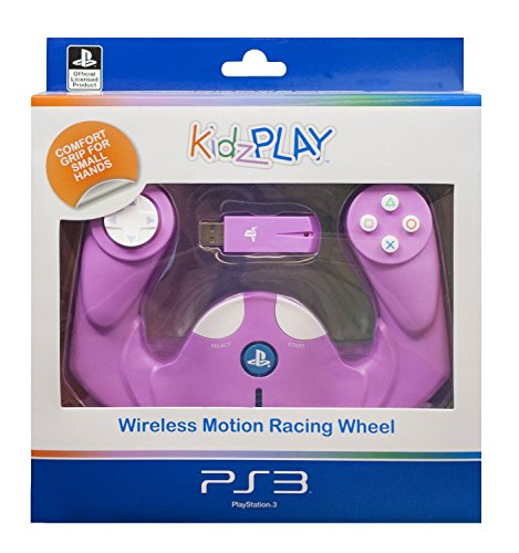 3 Racing Wireless Wheel - Kidzplay Wireless Motion Racing Wheel for Playstation 3 PS3 Pink