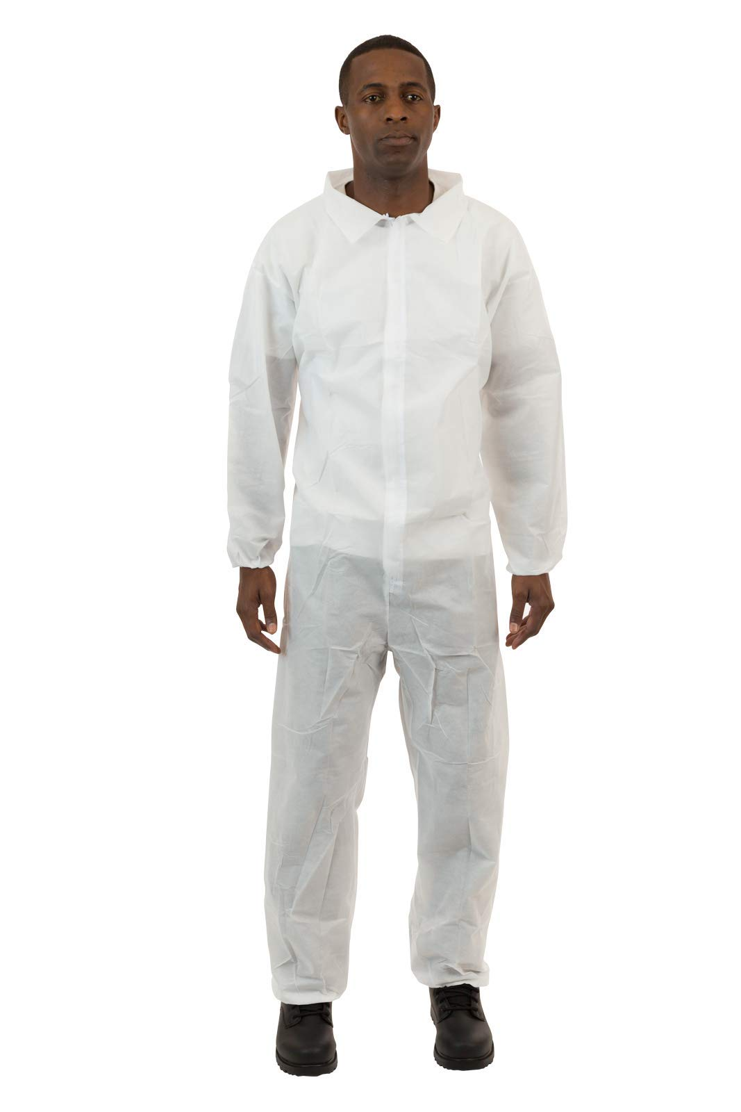 International Enviroguard - Lightweight 3 Layer SMS General Protective Coverall for General Cleanup (White) Elastic Wrist & Ankle, M, (25 per case) by International Enviroguard
