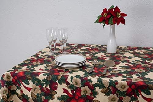 Boheme Nadal Mantel Navidad, ALGODÓN /50% POLIÉSTER, Verde, 140 X 350: Amazon.es: Hogar