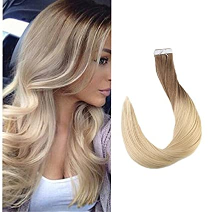 Full Shine 14 inch Tape in Hair Extensions Human Hair Ombre Balayage Hair Color Dark Brown Roots Color #3 Fading to #8 and #22 Blonde Highlighted Extensions 20 Pcs 50gram LTD 2016CATP-R#3/8/22-50g-14in