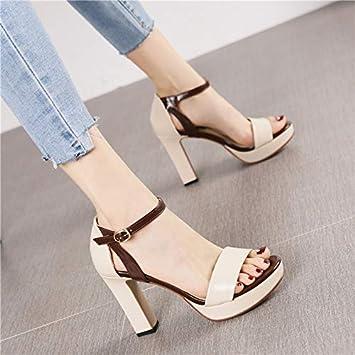 HRCxue Zapatos de la Corte Moda Camello Impermeable Plataforma Gruesa con Tacones  Altos Mujer Salvaje Simple Palabra Hebilla con Sandalias  Amazon.es  ... 5deca9f897a2