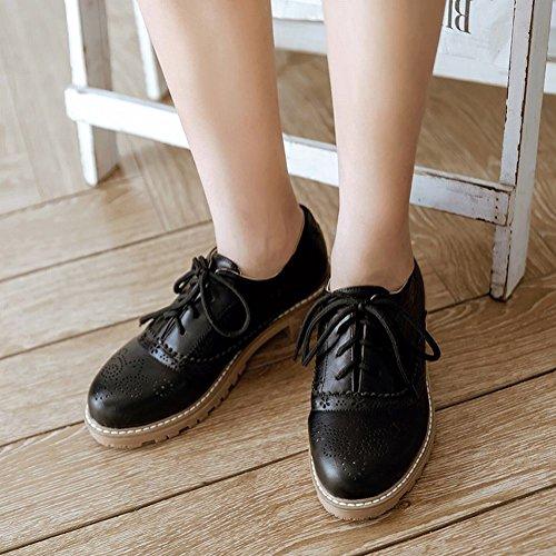 Latasa Damesschoenen Met Lage Hak Veter Oxford Schoenen Zwart