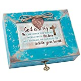Cottage Garden God With His Love Inside Heart Teal Wood Locket Jewelry Music Box Plays Tune How Great Thou Art