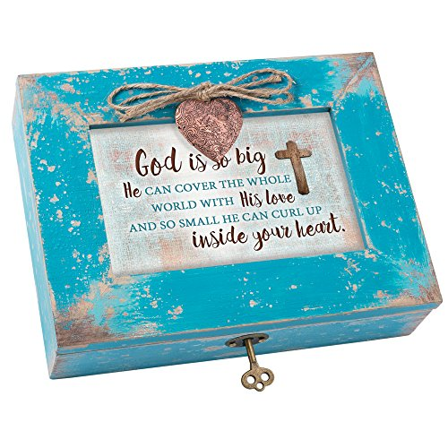 (Cottage Garden God with His Love Inside Heart Teal Wood Locket Jewelry Music Box Plays Tune How Great Thou Art)
