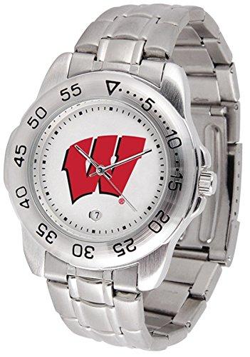 Wisconsin Badger Logo Watch - SunTime Wisconsin Badgers Sport Steel Band Men's Watch
