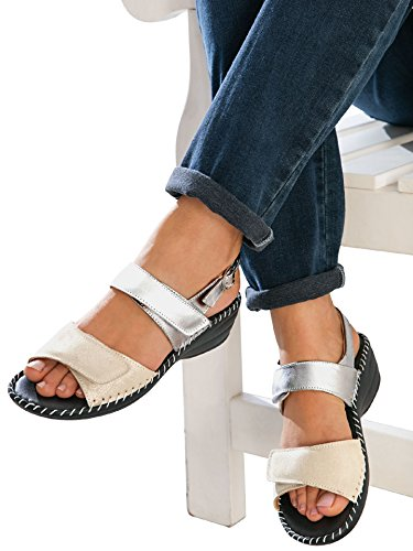 Avena Damen Supersoft-Sandalette Seidenglanz Grau