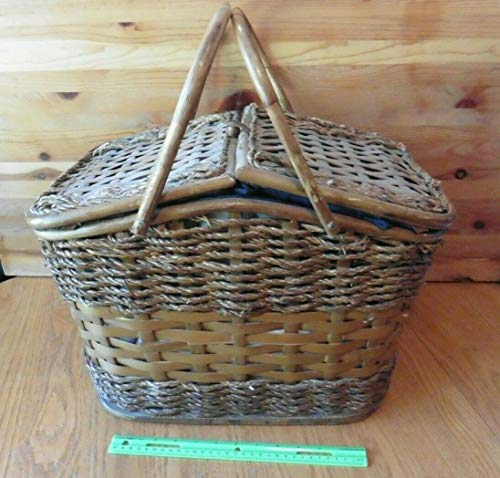 Picnic Time Picnic Basket Wicker wooden woven Navy blue interior w/accessories