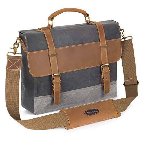 Manificent Messenger Bag, 16 Inch Vintage Waxed Canvas Genuine Leather Large Satchel Shoulder Bag,Briefcase Waterproof Canvas Leather Computer Laptop Bag, Tablet Messenger Bag, Grey