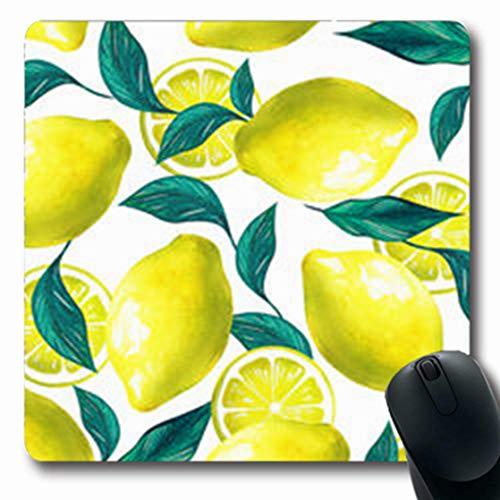 ArtsDecor Mousepads Holiday Citrus Floral Nature Artistic Green Brazil Eden Pattern Lemon Fruits Flowers Leaves Exotic Oblong Shape 7.9 x 9.5 Inches Oblong Gaming Mouse Pad Non-Slip Mouse Mat ()