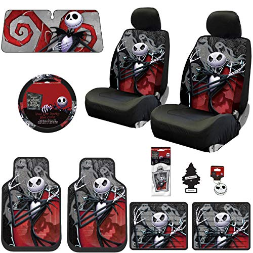 Yupbizauto New 15 Pieces Nightmare Before Christmas Jack Skellington Ghostly Car Truck SUV Seat Covers Floor Mat Bundle Set]()