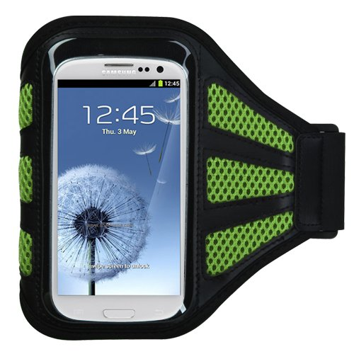 Premium Sport Armband Case for Motorola Droid mini/ Electrify M/ Droid Razr M/ Defy XT/ Atrix 2/ Triumph/ Droid 3 - Black (with Green Mess Ports)+ Star Strips Silicon Wristband